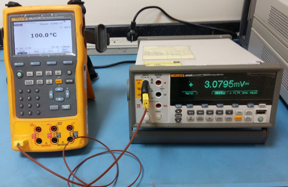 Fluke 754 sourcing out a temperature with a voltage output (mV) measured by a multimeter.