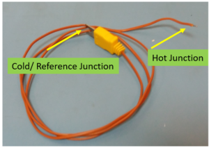 Thermocouple wire Cold junction and Hot junction part