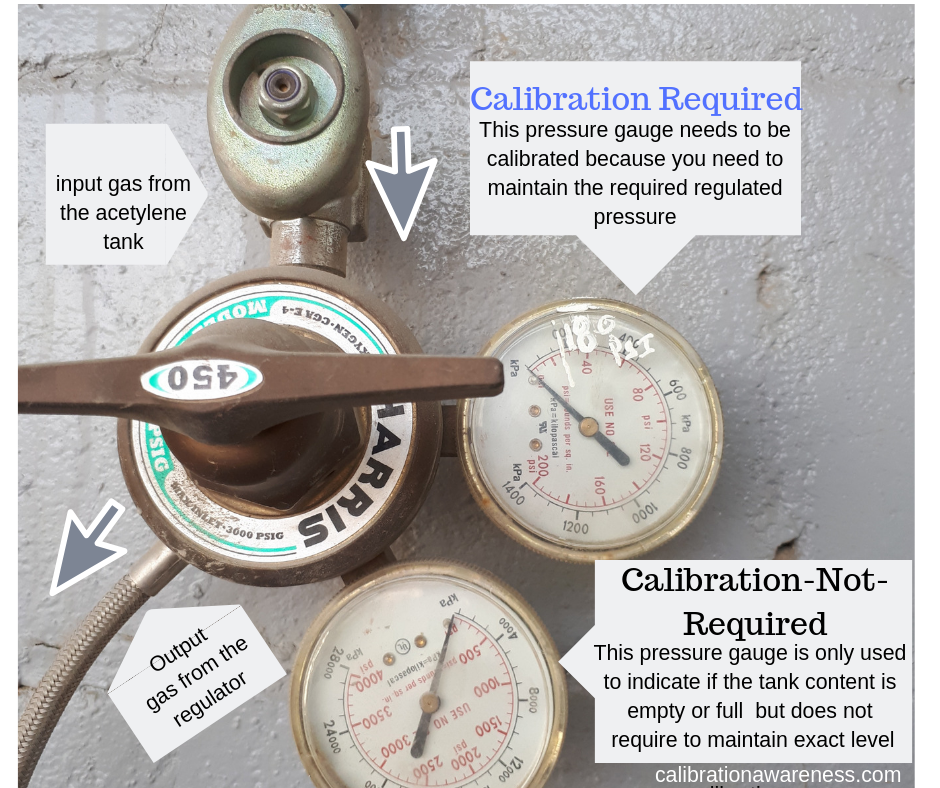 'calibration not required' or 'for reference only' label can be assigned for the input pressure which is used only to indicate the level of the tank which is not critical in the process compared to the regulated output pressure in which we need to maintain at a required level (180 psi)