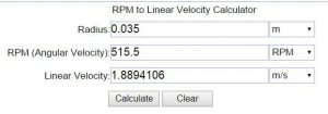 Calculator for Linear Velocity Given the RPM value