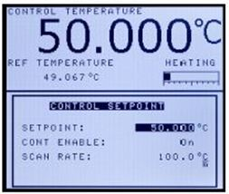 Set point display-just enter the desired temperature, enable to ON then ready to go.