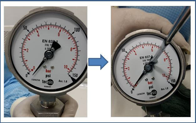 Pressure Gauge needle with adjustable screw