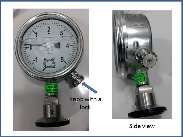 Pressure Gauge with adjustable knob to return the needle to zero position