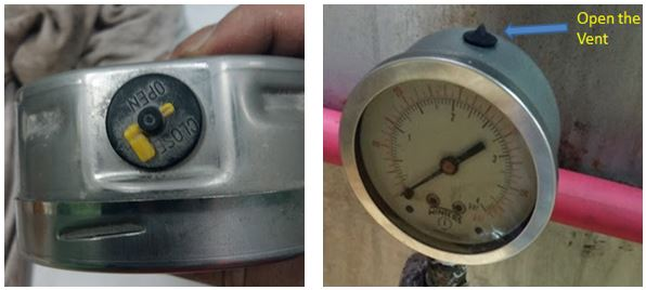 sample location of the Pressure gauge vent.