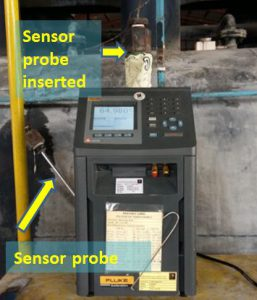 A sensor probe of the temperature switch inserted to a Metrology Well for a simulated temperature