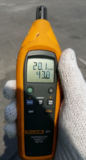 Temperature and Humidity displayed in Fluke 971