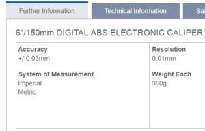 accuracy specs of a caliper based on its user manual