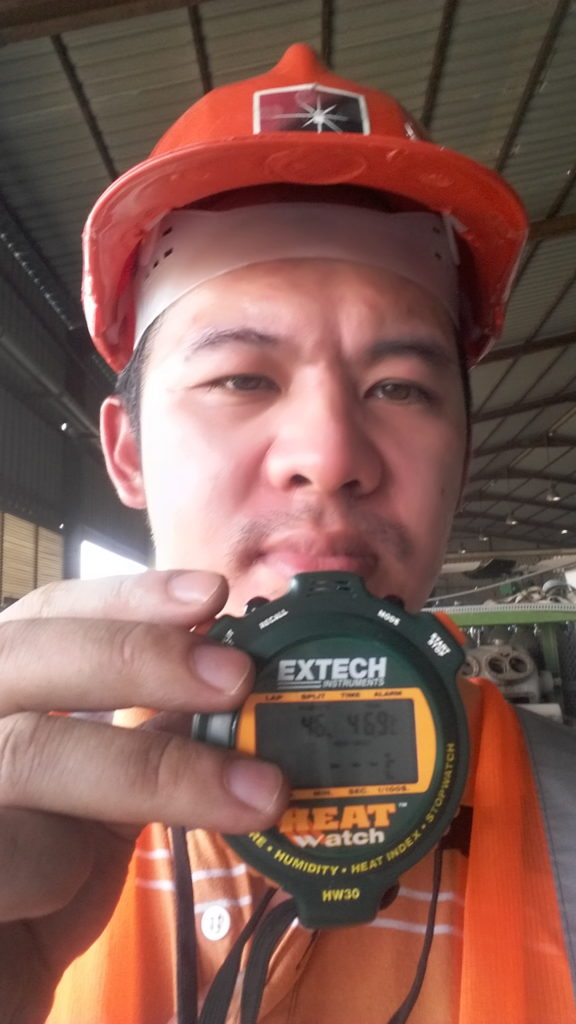Me during my on-site job exposed to a 46.9 deg C environment