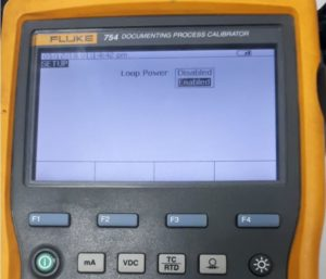 Enabling Loop Power in Fluke 754
