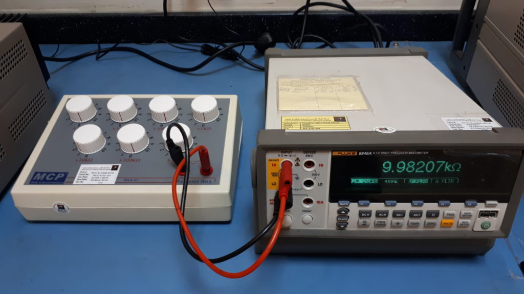 Calibration setup for a resistance box